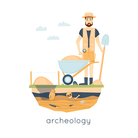 discovering: Archeology. Archaeologist leading the excavations, discovering a jug, treasure hunters ancient artifacts. Flat style vector illustration.