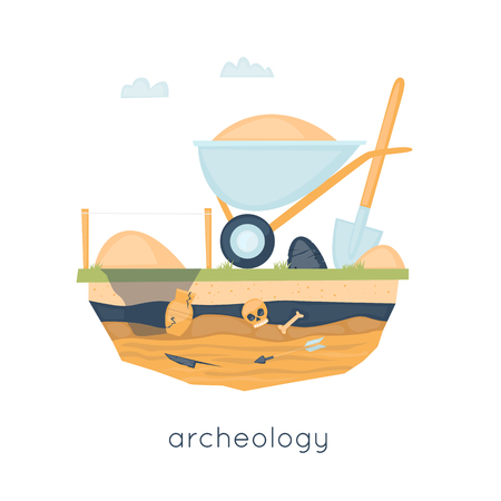 excavation: Archeology, archaeological excavations, ancient artifacts excavation, study, science. Instruments archaeologist. Flat design vector illustration.