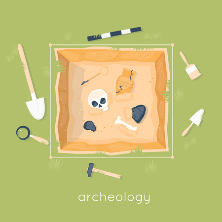 discovering: Archeology science. Ancient fossils. Discovering a jug, treasure hunters ancient artifacts. Historical archeology. Tools for excavations. Species origin. Education. Flat style vector illustration. Illustration