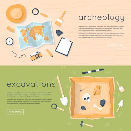 Archeologie wetenschap. Historische archeologie. Het ontdekken van een kruik, schattenjagers oude artefacten. Oude fossielen. Tools for opgravingen. Soorten oorsprong. Onderwijs. Vlakke stijl vector illustratie. Vector Illustratie