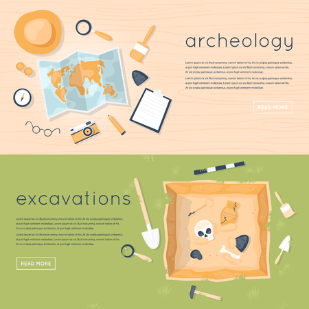 discovering: Archeology science. Historical archeology. Discovering a jug, treasure hunters ancient artifacts. Ancient fossils. Tools for excavations. Species origin. Education. Flat style vector illustration.