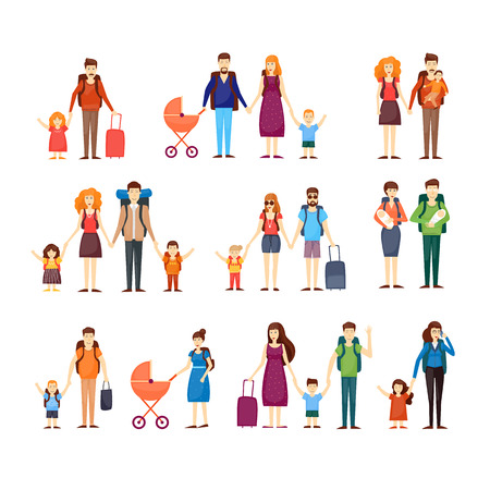 traveller: People travel with children, families. Characters Flat design vector illustration.