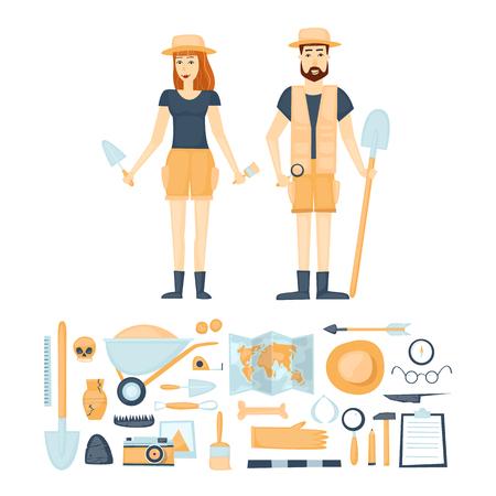 Arqueología. Los arqueólogos hombre y la mujer, el descubrimiento de una jarra, cazadores de tesoros antiguos artefactos. Herramientas para excavaciones. Caracteres. Aislado en el fondo. ilustración vectorial de estilo plano.