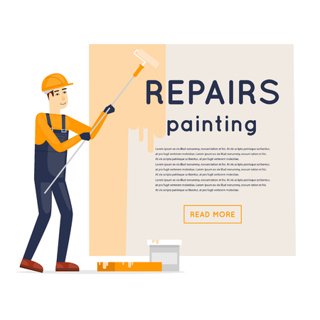 cartoon builder: Worker priming wall. Repair, construction, painting. Character. Flat style illustration.