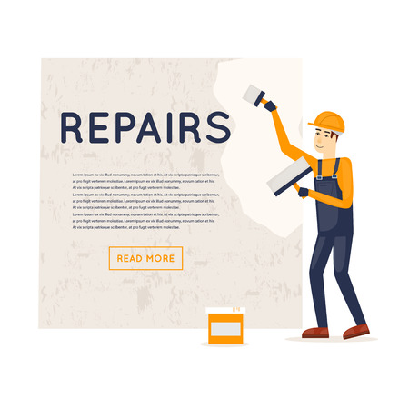 painting on the wall: Working puttied wall. Repair, construction, painting. Character. Flat style illustration.