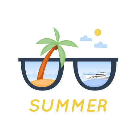 sunglasses reflection: World Travel, summer vacation, tourism and journey. Sunglasses with beach reflection. Flat design.