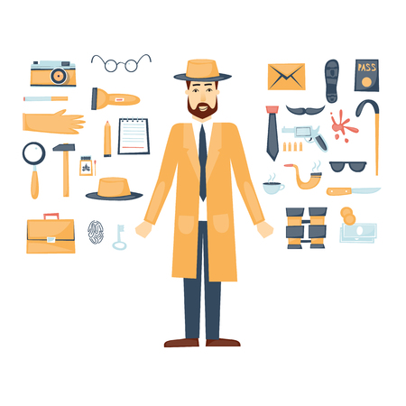 crime: Detective character and icon set elements. Flat design.