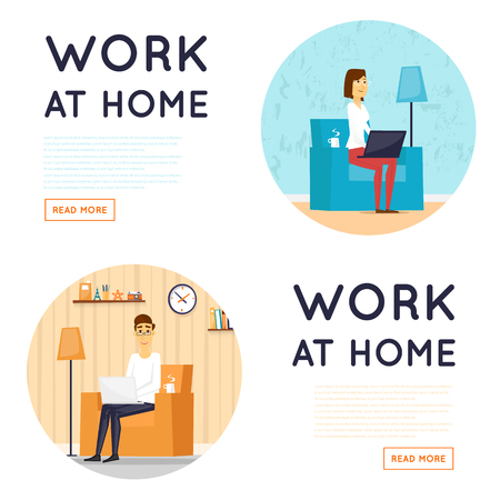 Freelance, werken thuis, kantoor aan huis, werken vanuit huis. Flat illustratie.