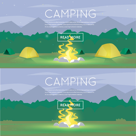 outdoor fire: Hiking and outdoor forest camping with tourist tent and fire. Summer night landscape. Flat design illustration. Illustration