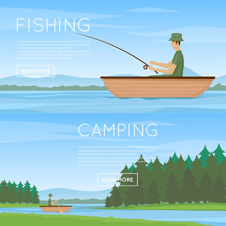 ponds: Summer fishing, man fishing from a boat. Summer landscape with the river. Hiking and outdoor forest camping. Flat design illustration.