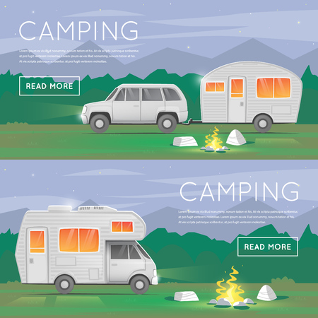 Hiking and outdoor forest camping. Camper trailer family. Summer campers trailers. Tourist campers. Summer landscape. Summer adventure. Summer night landscape. Flat design illustration.