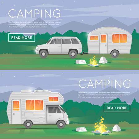 Hiking and outdoor forest camping. Camper trailer family. Summer campers trailers. Tourist campers. Summer landscape. Summer adventure. Summer night landscape. Flat design illustration.