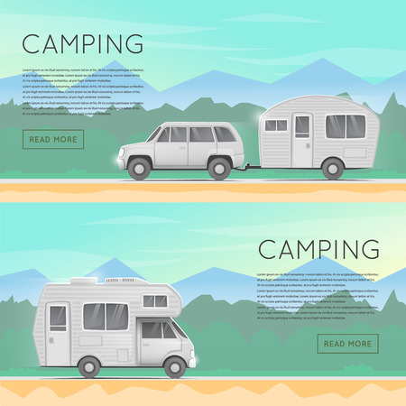 Hiking and outdoor forest camping. Camper trailer family. Summer campers trailers. Tourist campers. Summer landscape. Summer adventure. Flat design illustration. Ilustracja