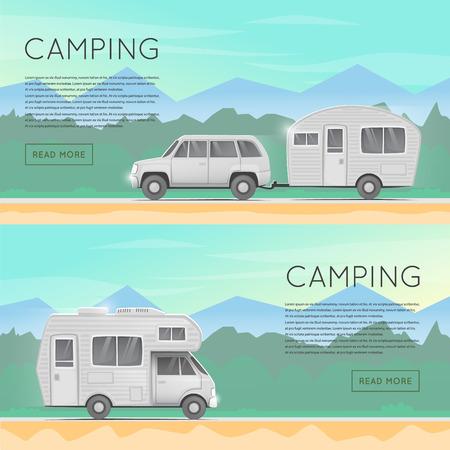 Wandelen en buiten het bos kamperen. Kampeerautoaanhangwagen familie. Zomer campers trailers. Tourist campers. Zomer landschap. Zomer avontuur. Platte ontwerp illustratie. Stockfoto - 57883829