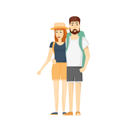couple hiking: Man and woman traveling. Travel-ling couple. Hiking, Walking. Vacation, holiday, adventures in nature, vacation. Flat design illustration. Illustration