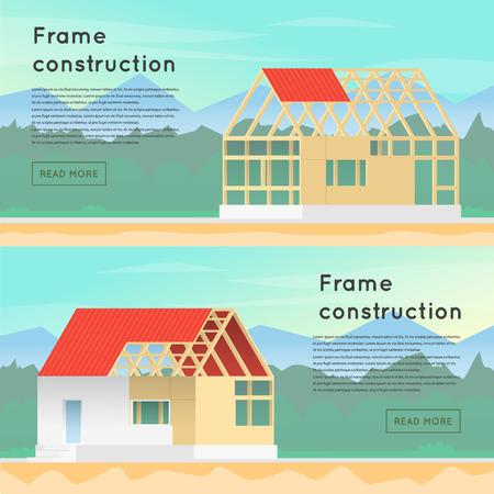 フレーム構造。木造軸組構造。家の建設。施工のための家。フレーム構造。  イラスト・ベクター素材