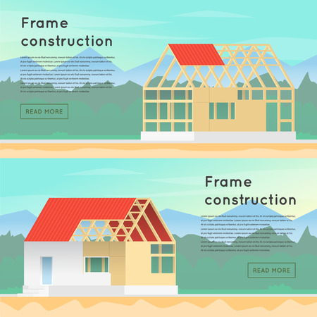 house construction: Frame construction. Wooden framework construction. Home Construction. House in construction process. Framing Structure.