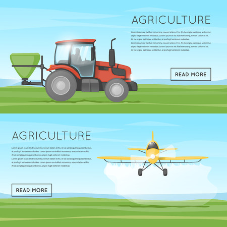 crops: Tractor pours fertilizer. Flying yellow plane spraying agricultural chemicals pesticide.