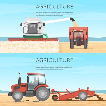 labranza: Tractor, cosechadora. Agricultura. veh�culos agr�colas. La recolecci�n, la agricultura. Granja. Tractor procesa la tierra. Equipo para la agricultura. Combine para la cosecha. Vectores