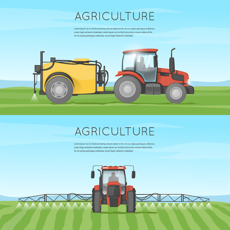 agricultural: Tractor watering field. Agriculture. Agricultural vehicles. Harvesting, agriculture. Farm. Tractor processes the earth. Equipment for agriculture. Illustration