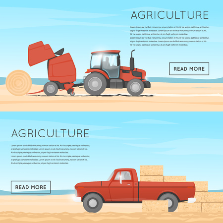 wheeled tractor: Tractor and round baler. Pickup straw bale. Tractor harvesting straw in the field. Illustration