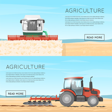 agricultural: Tractor, combine. Agriculture. Agricultural vehicles. Harvesting, agriculture. Illustration