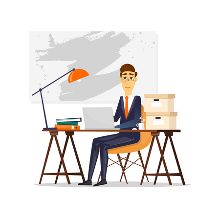 workday: Man sitting at the table and working on the computer. Business, office work, workplace. Flat design vector illustration.