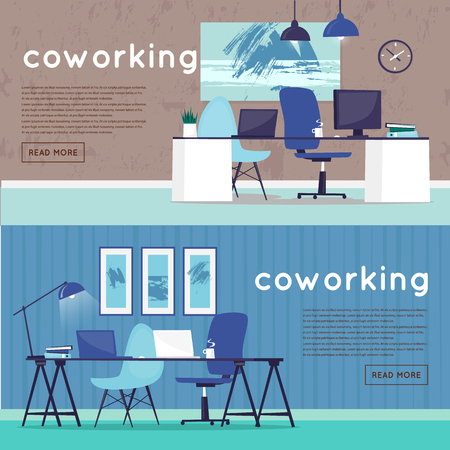 Office workplace. Business, office work. Room interior. Marketing, management, co working. Flat design vector illustration. Web banner.