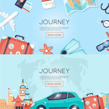 Viajar en coche a Rusia, EE.UU., Japón, Francia, Inglaterra, Italia. Viajes mundiales. La planificación de las vacaciones de verano. Vacaciones de verano. El turismo y el tema de vacaciones. Piso de diseño vectorial