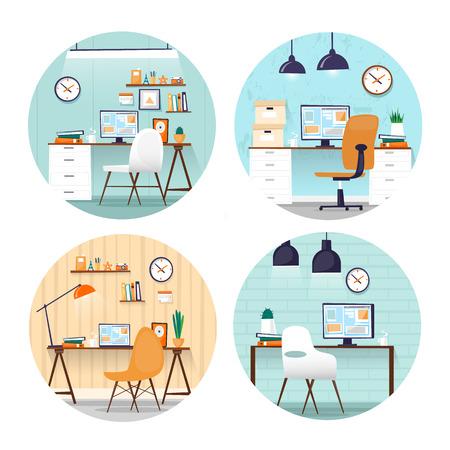 Office workplace. Business, office work. Room interior. Marketing, management, co working. Flat design vector illustration. Web banner. Çizim