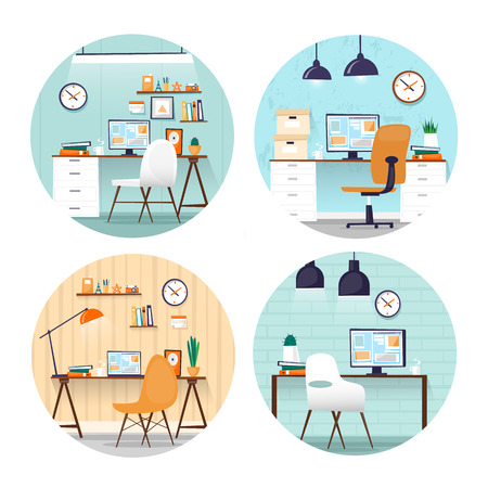 Office workplace. Business, office work. Room interior. Marketing, management, co working. Flat design vector illustration. Web banner. Illustration