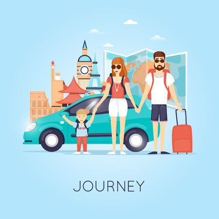 Family Travel. Travel by car Russia, USA, Japan, France, England, Italy. World Travel. Planning summer vacations. Summer holiday. Tourism and vacation theme. Flat design vector illustration.
