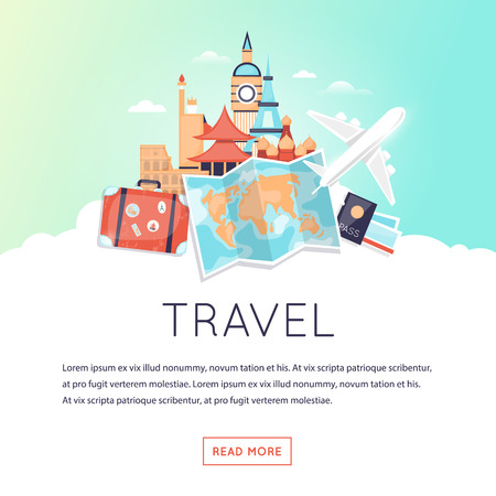 Page web design template World Travel, summer vacation, tourism and journey. Time to travel. Trip plan. Flat design vector illustration. Stock Illustratie