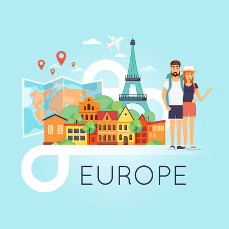 holiday vacation: Two young tourists on vacation. Character design. World Travel. Planning summer vacations. Summer holiday. Euro-trip. Tourism and vacation theme. Flat design vector illustration. Illustration