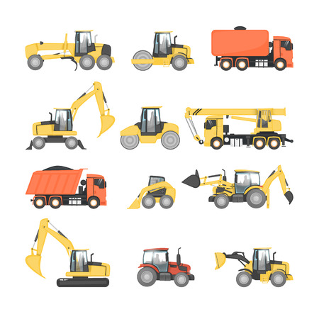 heavy construction: Set of heavy machinery for road repair. Tractor, truck, dump truck, grader, excavator, roller. Road construction equipment. Flat design vector illustrations.