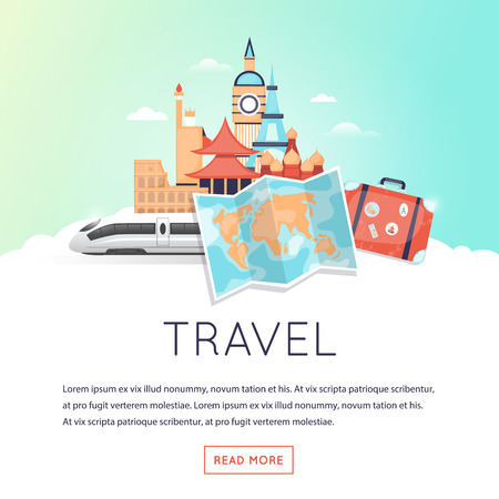 illustration journey: Page web design template World Travel, summer vacation, tourism and journey, traveling set of icons. Vintage suitcase with stickers. Flat design vector illustration.