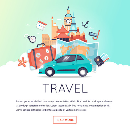 illustration journey: Page web design template World Travel, Travel by car, summer vacation, tourism and journey, traveling set of icons. Vintage suitcase with stickers. Flat design vector illustration.