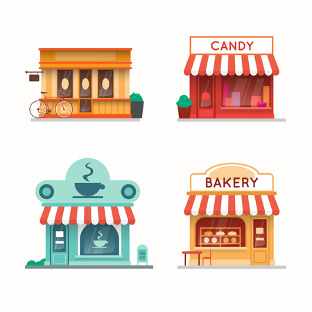 candy store: Set of shops and stores building facades. Candy store, coffee shop, bakery, bookstore. Flat design vector illustration.