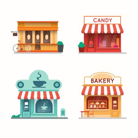 Set van winkels en warenhuizen gevels. Snoepwinkel, koffiebar, bakker, boekhandel. Platte ontwerp vector illustratie.