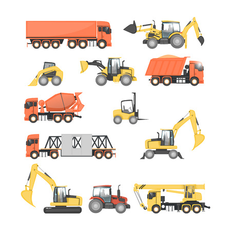 heavy set: Set of heavy construction machines. Tractor, truck, dump truck, excavator. Flat design vector illustrations.