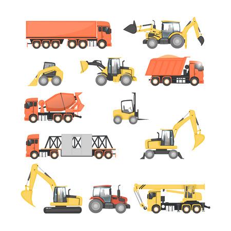 Set of heavy construction machines. Tractor, truck, dump truck, excavator. Flat design vector illustrations.