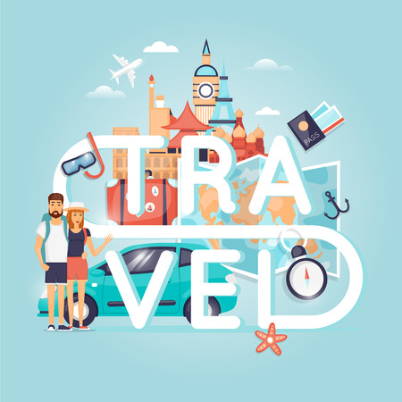 holiday vacation: Two young tourists on vacation. Character design. World Travel. Planning summer vacations. Summer holiday. Summer travel. Tourism and vacation theme. Flat design vector illustration. Poster.