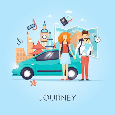 road trip: Family Travel. Travel by car Russia, USA, Japan, France, England, Italy. World Travel. Planning summer vacations. Summer holiday. Tourism and vacation theme. Flat design vector illustration.