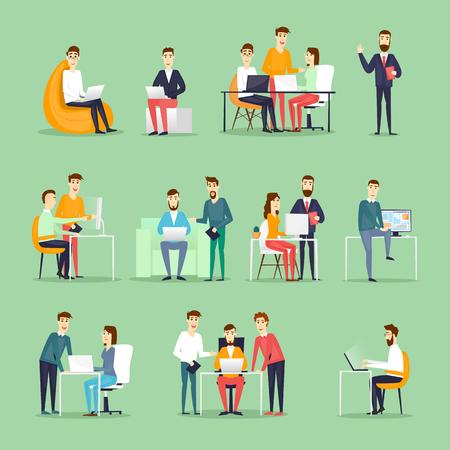 Znaki handlowe. Współpracownicy, spotkania, praca zespołowa, współpraca i dyskusja, stół konferencyjny, burza mózgów. Miejsce pracy. Życie biurowe. Płaski projektowania ilustracji wektorowych.