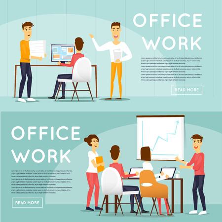 office presentation: Presentation of the project, meeting, teamwork, collaboration and discussion, conference table, brainstorm. Workplace. Office life. Business characters. Banners. Illustration