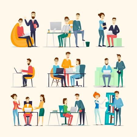 Trabajo cooperativo gente, reunión, trabajo en equipo, la colaboración y la discusión, la mesa de conferencias, intercambio de ideas. Lugar de trabajo. Vida de la oficina. Varios personajes.