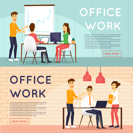 office presentation: Co working people, meeting, teamwork, collaboration and discussion, conference, brainstorm. Workplace. Presentation of the project. Office life. Business characters. Flat design illustration.