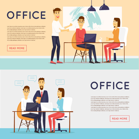 Business characters, meeting, teamwork, collaboration and discussion, conference table, brainstorm. Workplace. Office life. Banners. Flat design illustration. Vectores