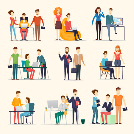 Zakelijke karakters. Co werkende mensen, ontmoeting, teamwork, samenwerking en discussie, vergadertafel, brainstorm. Workplace. Office leven. Platte ontwerp illustratie. Stock Illustratie