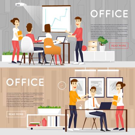 Business-Comic-Figuren. Die Menschen reden und an den Computern arbeiten. Office-Arbeitsplatz unter. Co-Bearbeitungszentrum. Freifläche. Raum zu arbeiten und zu studieren. Banner. Vektorgrafik